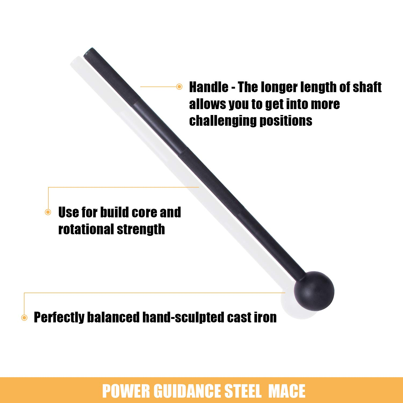 Macebell Athletics per allenamenti di Tutto Il Corpo Muscoli Allenamento per la Forza POWER GUIDANCE Steel Mace Bell Club