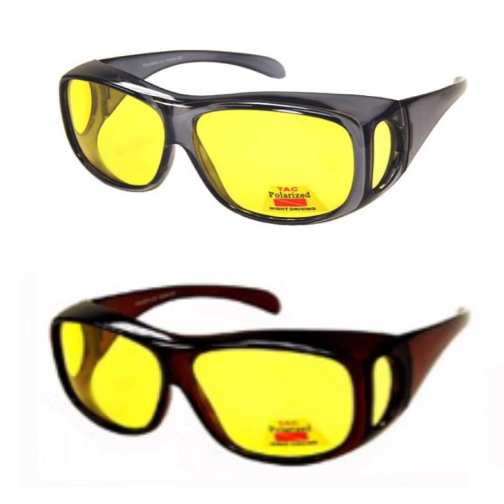 2 Pair Polarized Night Driving Fit Over Size Large - 43199 Black/Tortoise