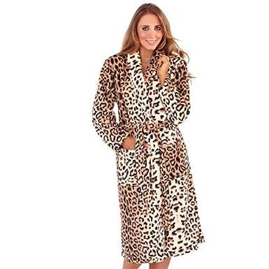 Lora Dora WOMENS LEOPARD PRINT FULL LENGTH VELOUR ROBE DRESSING GOWN ...