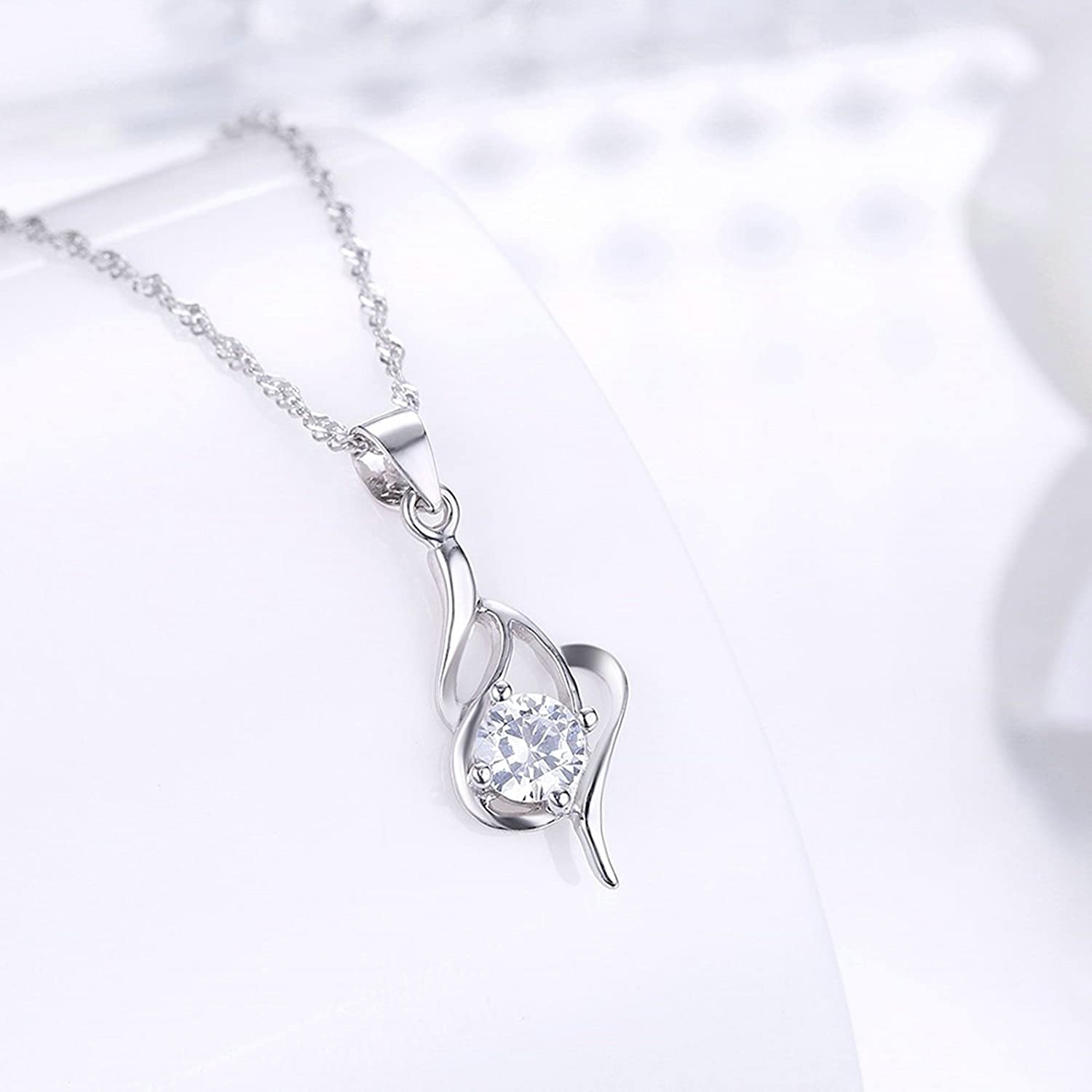 MoAndy Jewelry Sterling Silver Women Necklace Chain Hollow Prism White Length 40+5CM