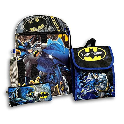 Personalized DC Comics Batman Superhero Backpack Book Bag Accessories and Lunch Bag for Back to School - 5 Piece Set ()