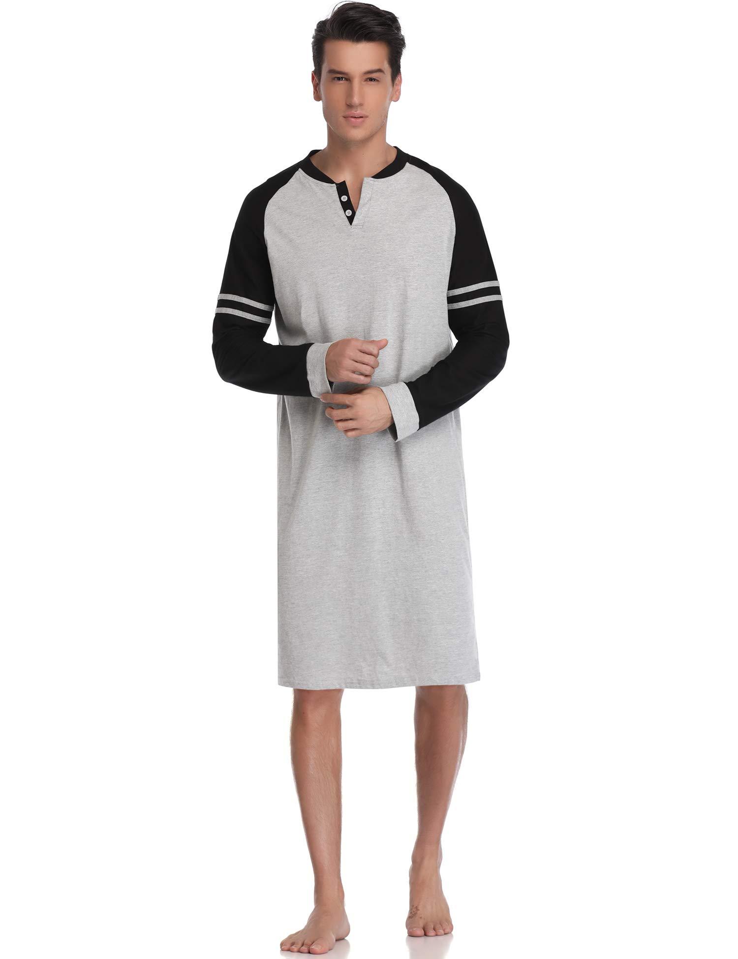 Aibrou Camison Hombre Algodon Corto y Largo Pijama Cómodo y Transpirable Ropa de Dormir product image