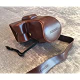 Camson Leather Camera Case Bag and Strap for Nikon D3400, D3300, D3200 with 18-55 Lens (Vintage Brown)