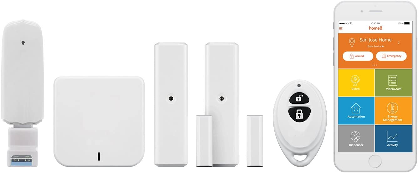 Home8 Wireless Security Alarm System (4 Piece Kit) Smart Collaborative, 2X Door Sensors, 1x Arm/Disarm/Panic Keyfob Remote, 1x Smart Hub, Alexa Integration