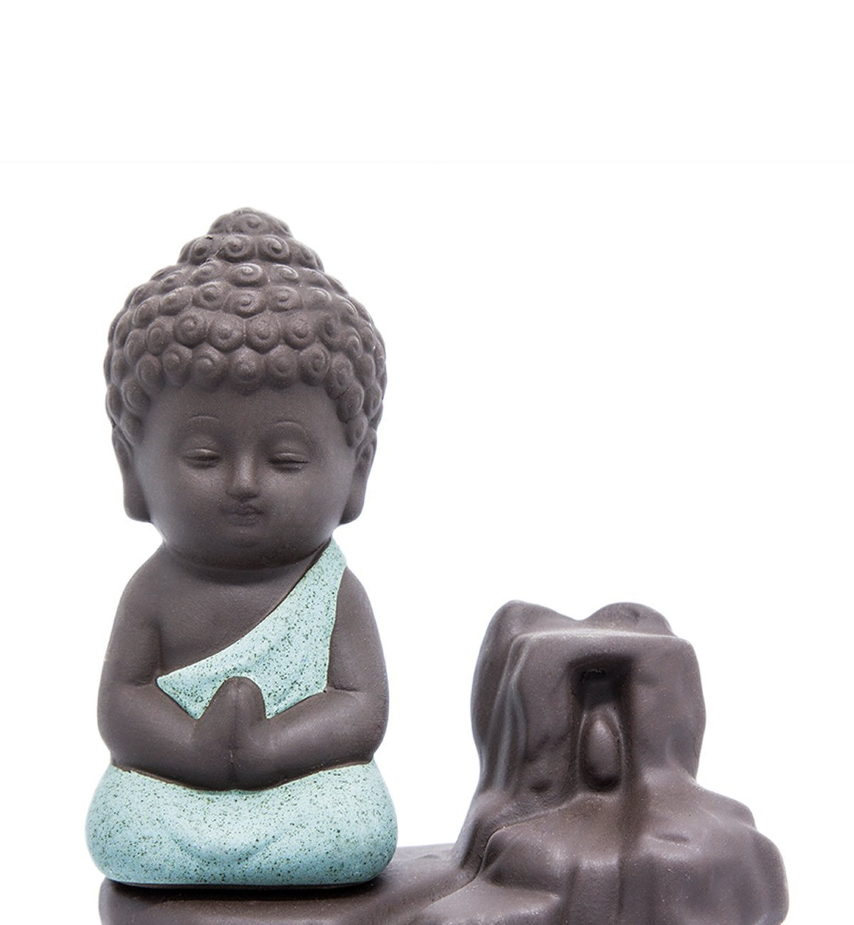 IN-001Green The Little Monk Waterfall Backflow Homemade Buddha Incense Burner Tower Cones Sticks Holder Ash Catcher