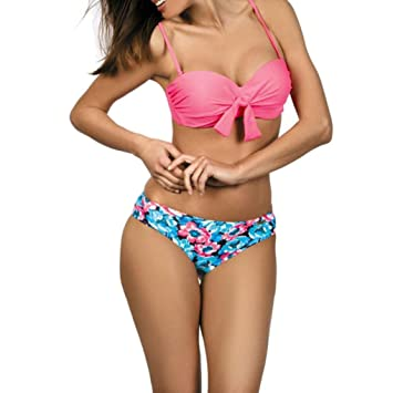 ad6afe34c Amazon.com   HP95 Two Piece Swimsuit Set Women Bandage Bikini Flower  Monokini Push Up Padded Bra Swimwear (XL