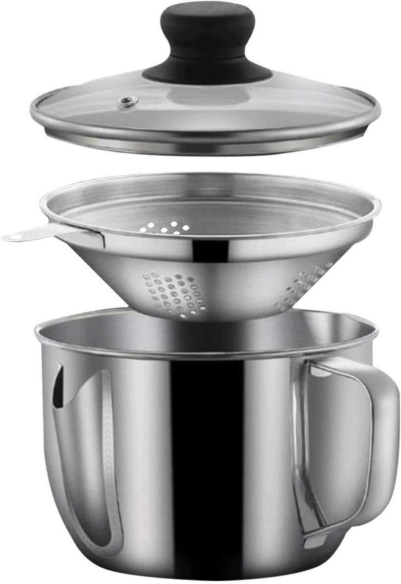 Stainless Steel Fat Separator 4 Cup/1000ML Gravy Grease Separator with Strainer and Glass Lid, Soup Oil Separator Cup for Cooking, Oil Soup Separator Strainer Pot for Kitchen