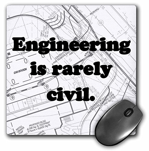 3dRose LLC 8 x 8 x 0.25 Inches Mouse Pad, Engineering is Rarely Civil Civil Engineer (mp_149859_1)