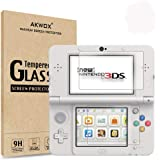 [2-Pack] Akwox for New 3DS Tempered Glass Top LCD Screen Protector with HD Clear Crystal PET Buttom LCD Screen Protective Fil
