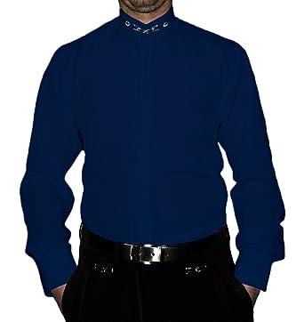 outlet store a95b2 ea39d Designer Herren Hemd Stehkragen Bügelfrei Herrenhemd Stehkragenhemd Weiß  Blau Schwarz Steh Kragen Hemden