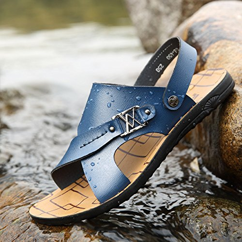 Sommer Das neue Männer Strand Schuh Faser Männer Sandalen Mode Atmungsaktiv Freizeit Männer Schuh ,blau,US=9.5,UK=9,EU=43 1/3,CN=45
