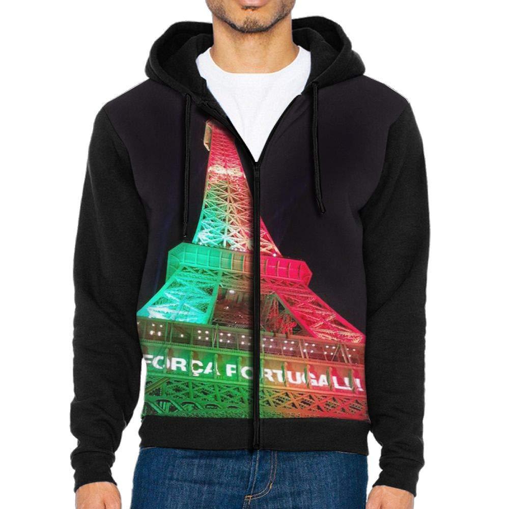 LB.KLV Eiffel Tower Mens Full-Zip Hooded Fleece Sweatshirt