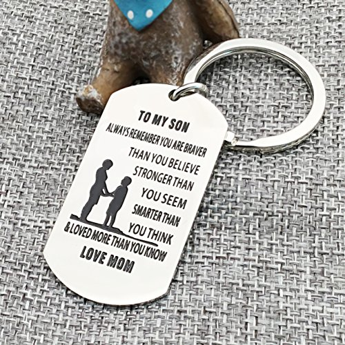 lauhonmin Mother Son Key Chain Ring To My Son - You are Braver Stronger Smarter than you think - Love Mom Photo #5