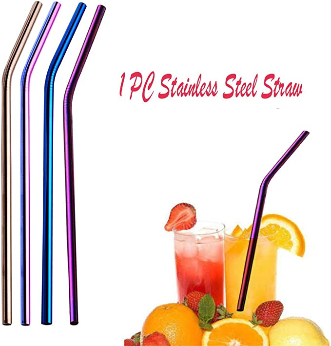 1PC Reusable 304 Stainless Steel Metal Drinking Straws Straight//Bent Washable