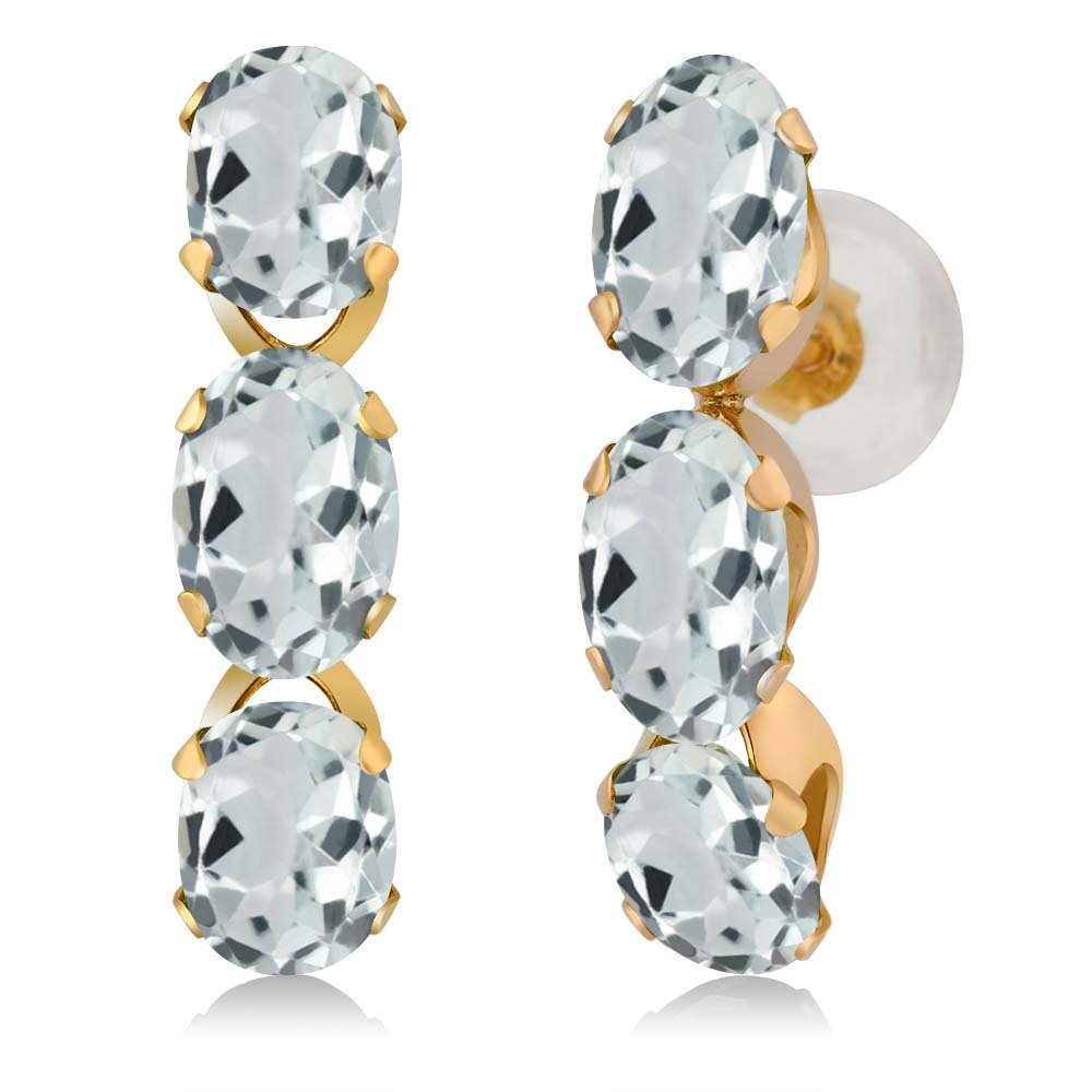 2.58 Ct Oval Sky Blue Aquamarine 14K Yellow Gold Earrings