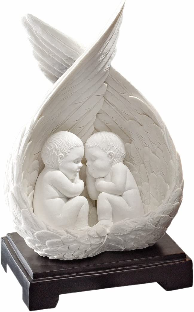 Design Toscano PD2389 Bonded Marble Precious Slumber Baby Angel Statue,White