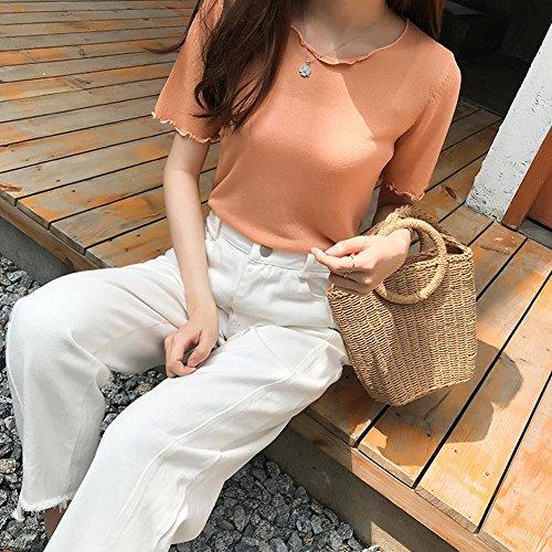 à la main à à à la tricoté nouveau sac tissé abricot sac de Khaki 2018 sac plage Sac bandoulière kaki sac bandoulière main qAEO88n