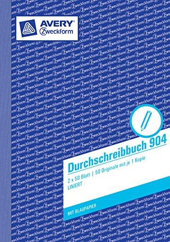 Avery Zweckform 904 Durchschreibbuch (A5, mit 1 Blatt Blaupapier, 2x50 Blatt) weiß