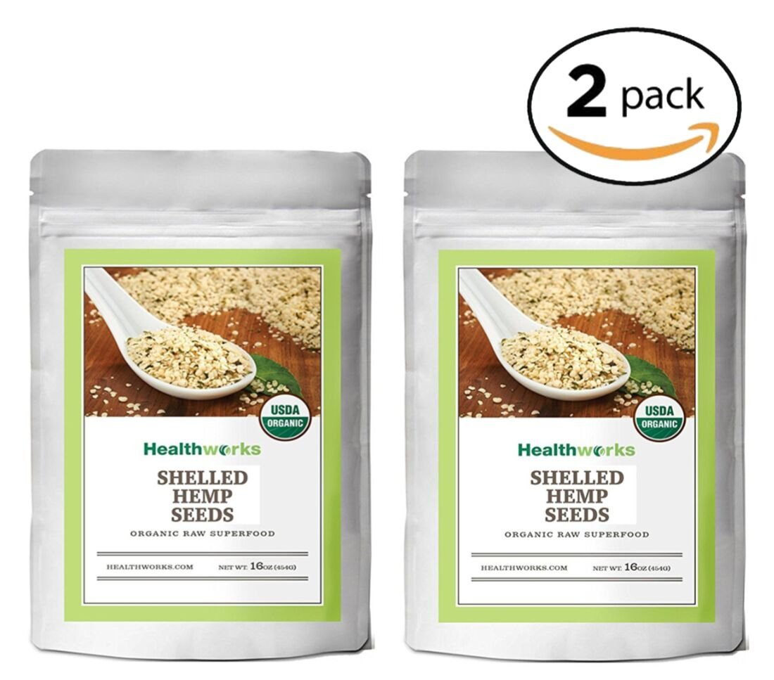Healthworks Organic Shelled Hemp Seeds 2lb(2 1lb Packs)