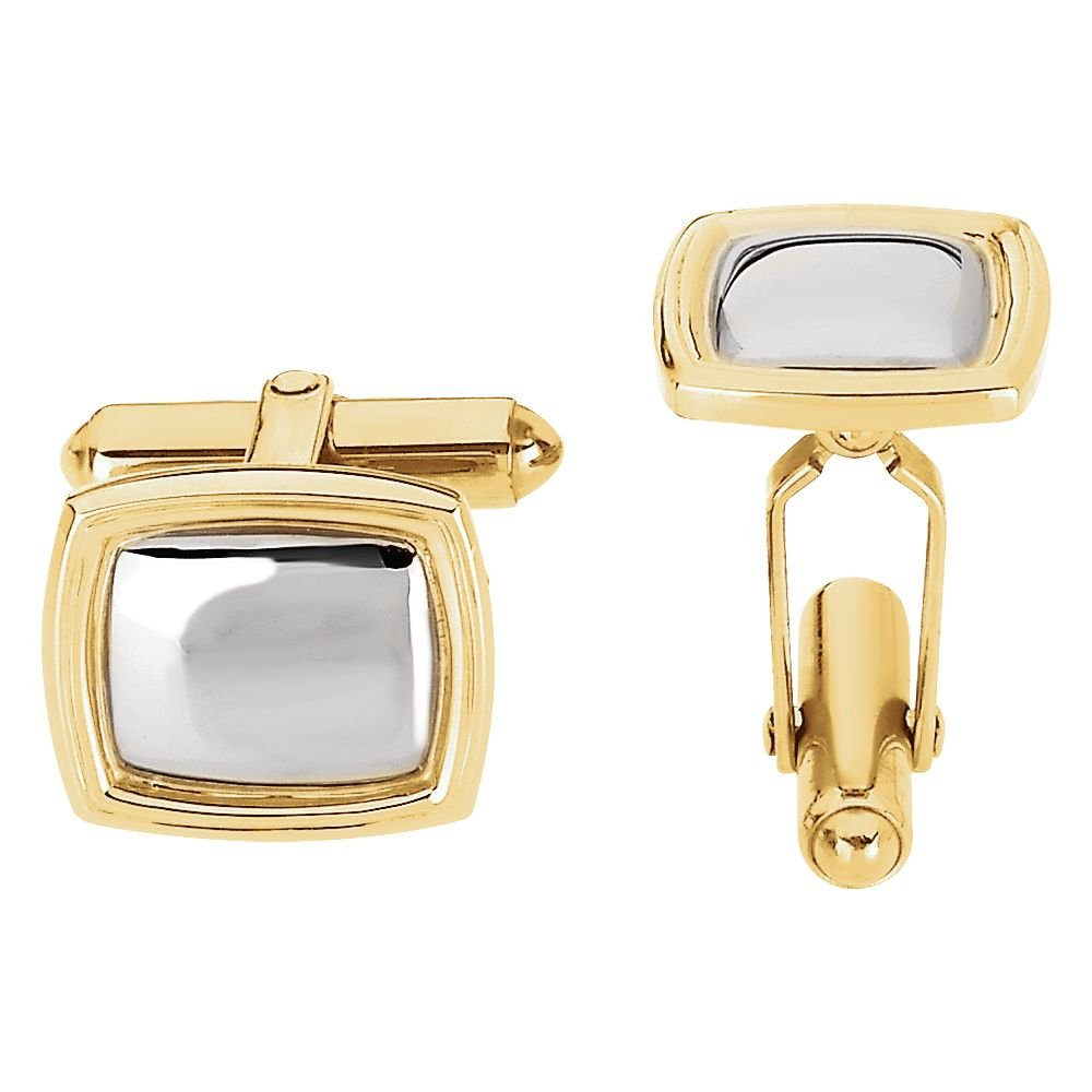 14K Yellow & White 14x16mm Square Cuff Links-Pair