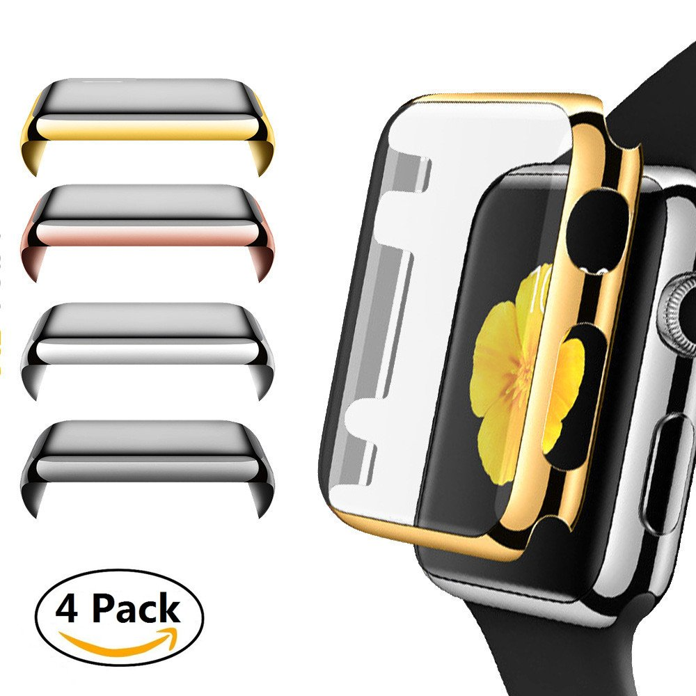 Apple Watch Series 3 Case, Leagway 4Pack Slim iwatch 3 Protective Snap-On Case with Built-in Clear Screen Protector, Ultra-thin PC Plated Bumper Anti-Scratch Full Cover for Apple Watch Series 3 (42mm)