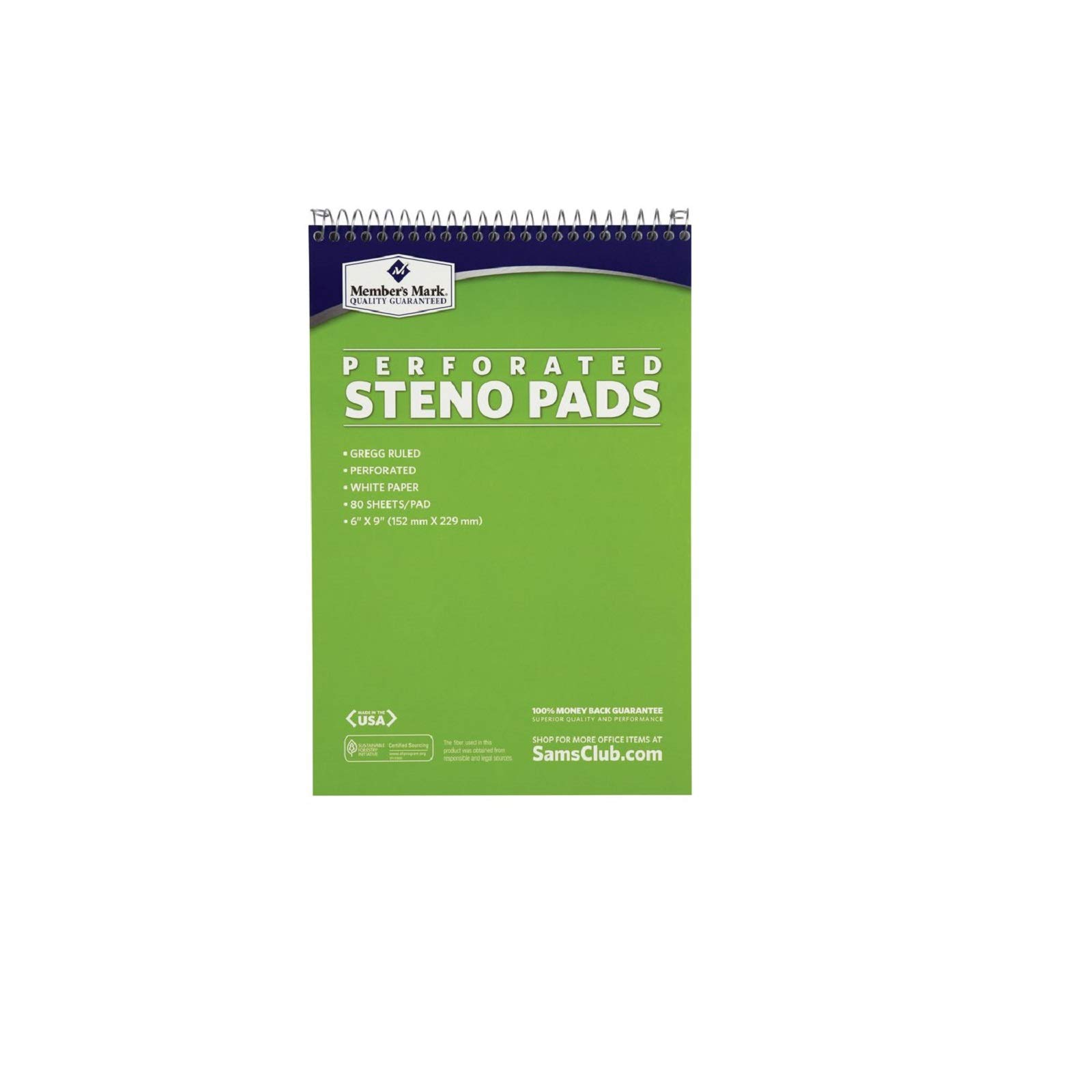 Members Mark Perforated Steno Pad, 6'' x 9'', White, 12pk. (2 Pack) by Members Mark