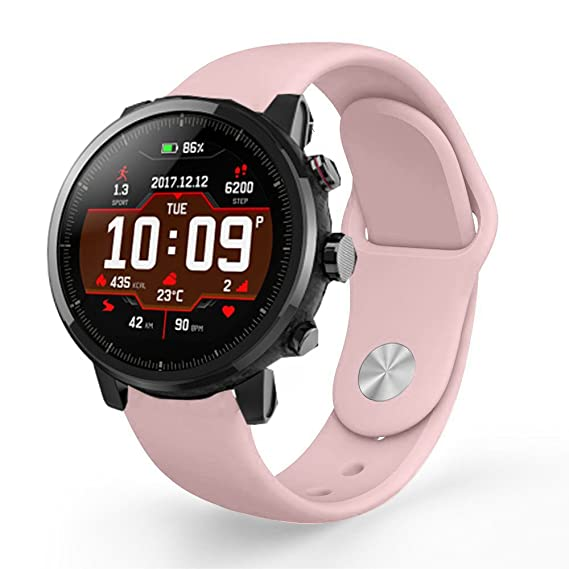 for Amazfit Stratos Band, Lamshaw Sport Silicone Replacement Strap for Amazfit Stratos Multisport GPS Smartwatch (Silicone-Pink)