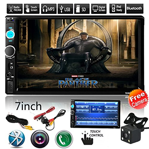 Car Rear View Camera + Cavogin 7″ inch Double Din Touchscreen In Dash Stereo Car Receiver Audio Video Player Bluetooth FM Radio Mp3 MP5 / TF / USB / AUX / Steering wheel controls + Remote Control
