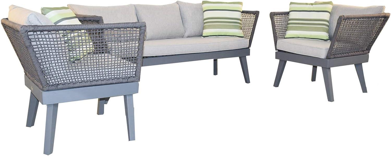 Jet-line Cuba - Juego de muebles de jardín, color gris claro: Amazon.es: Jardín