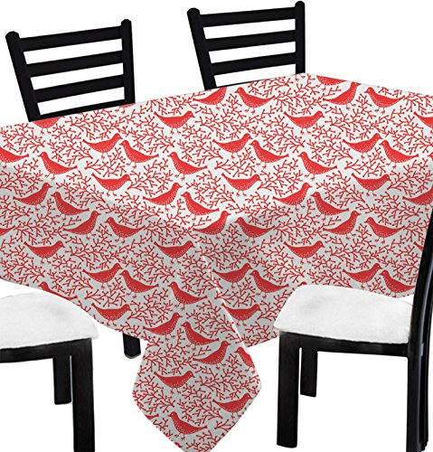 """Christmas Gift Ideas Rectangular Tablecloth Printed 6-Seater -100% Cotton Animal Print Table Cover Rectangle Long Red -55"""" x 72"""""""