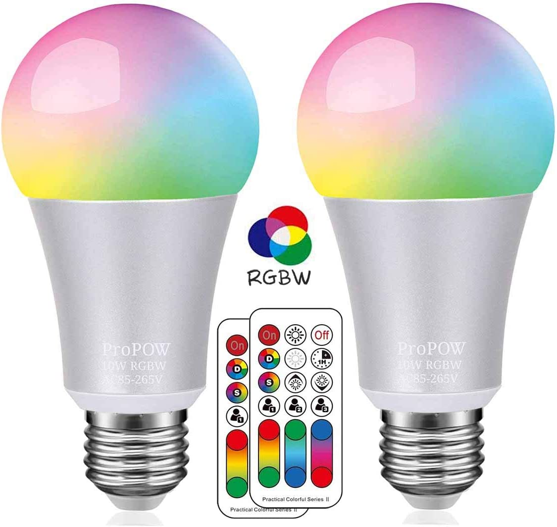 Color Changing Light Bulb,ProPOW 10W RGB Color LED Light Bulbs with IR Remote Control A19 E26 LED Night Light Bulbs Mood Light Bulb for Home Decor,Party RGB+Soft White,Dimmable,1-Pack