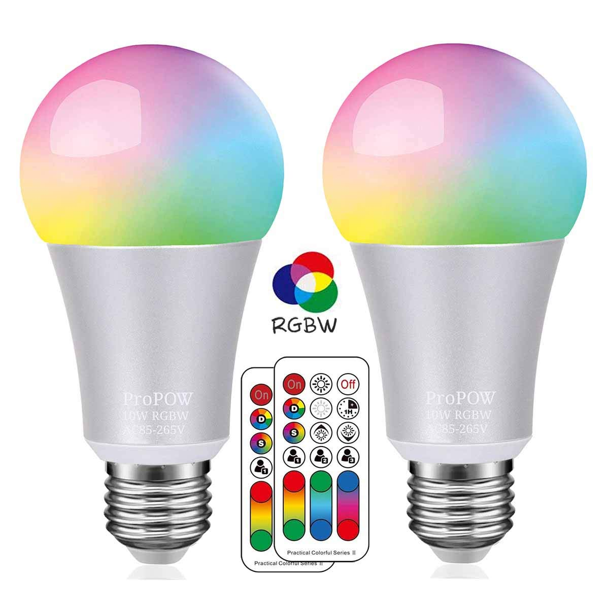 Color LED Light Bulb, ProPOW 10W RGBW Color Changing Light Bulbs with IR Remote Control A19 E26 LED Night Light Bulbs Mood Light Bulb for Home Decor, Party(RGB+Soft White, Dimmable, 2-Pack)