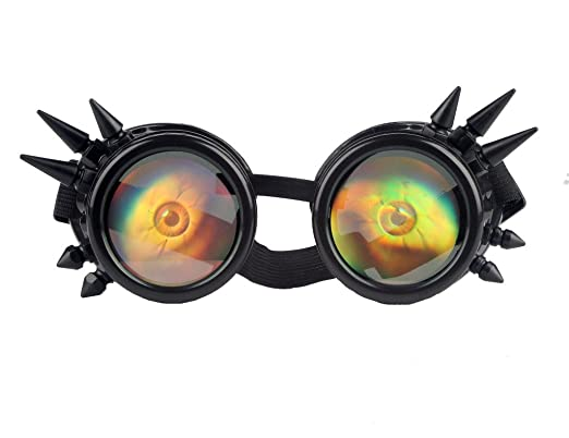c083b8116c7 Image Unavailable. Image not available for. Colour  FLORATA Vintage  Steampunk Goggles Spiked Gothic Welding Cyber Glasses