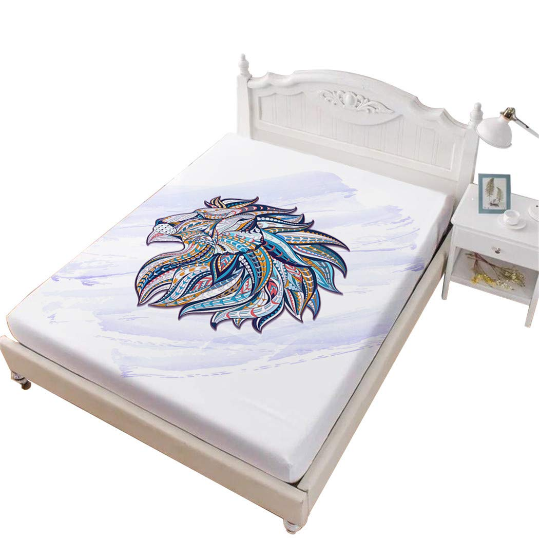 Jessy Home Lion Bed Fittied Sheet Queen,3D Bedding Bedroom Decor Gifts for Girls White