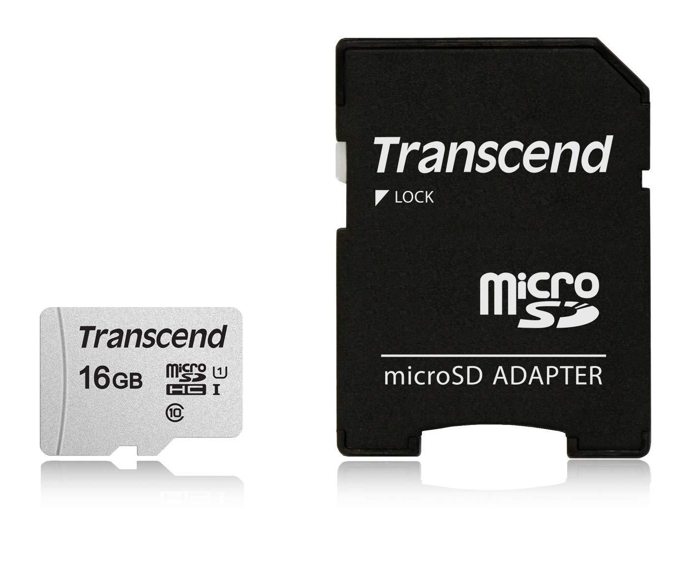Transcend 16GB TS16GUSD300S-AE UHS-I U1 MicroSD Memory Card.