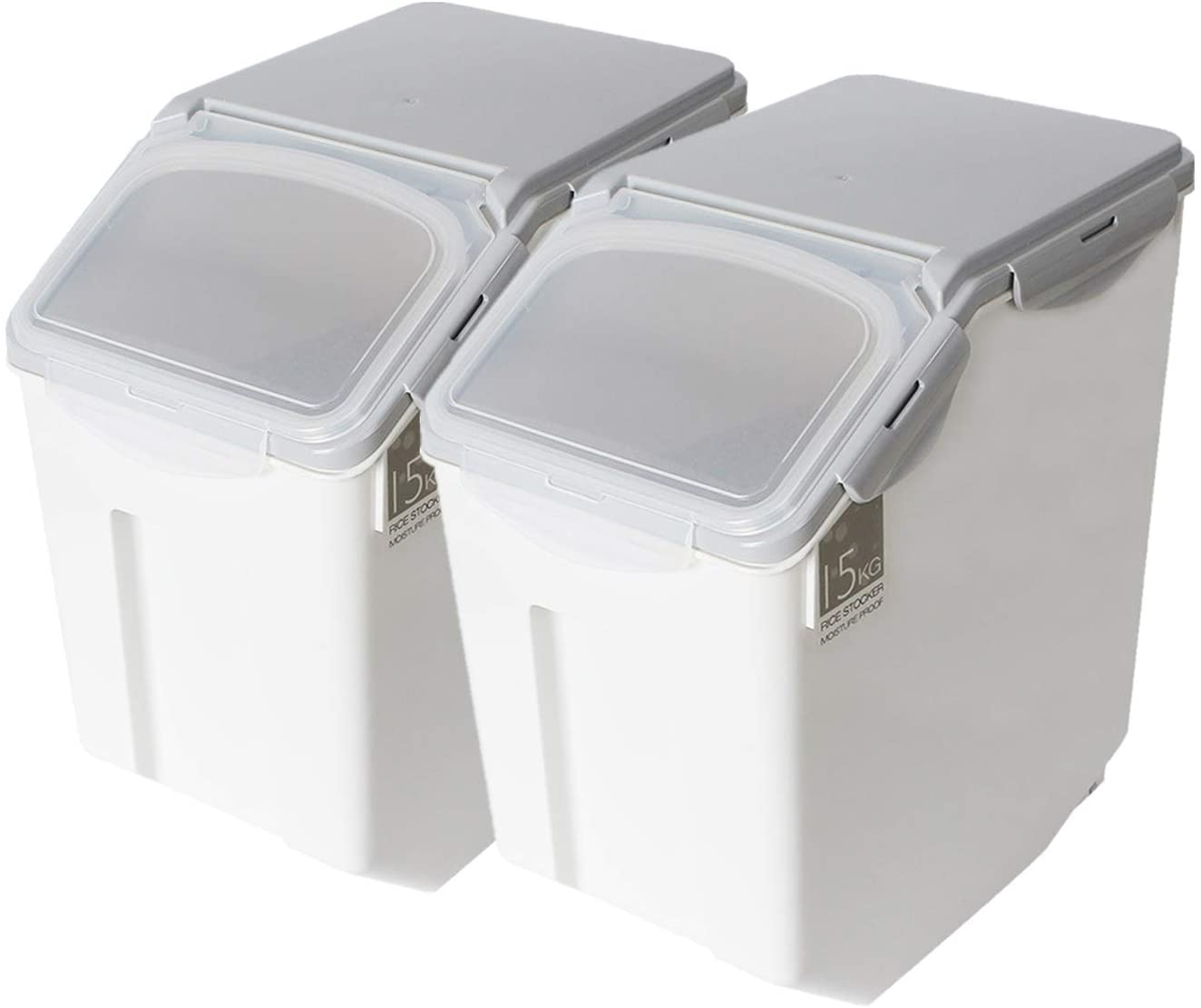 Kitchen Flour Box with Wheels Seal Locking Lid PP Rice Storage Container Food Containers ((33Ib / 80 cup),Pack-2)