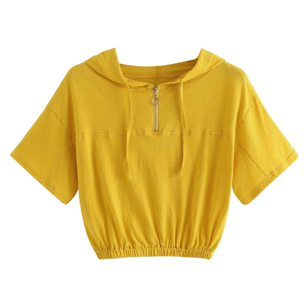 Women's T-Shirt,Short Sleeve Top,Fartido Tee Ladies Hooded Short-Sleeved Zip Casual Blouse Top Yellow