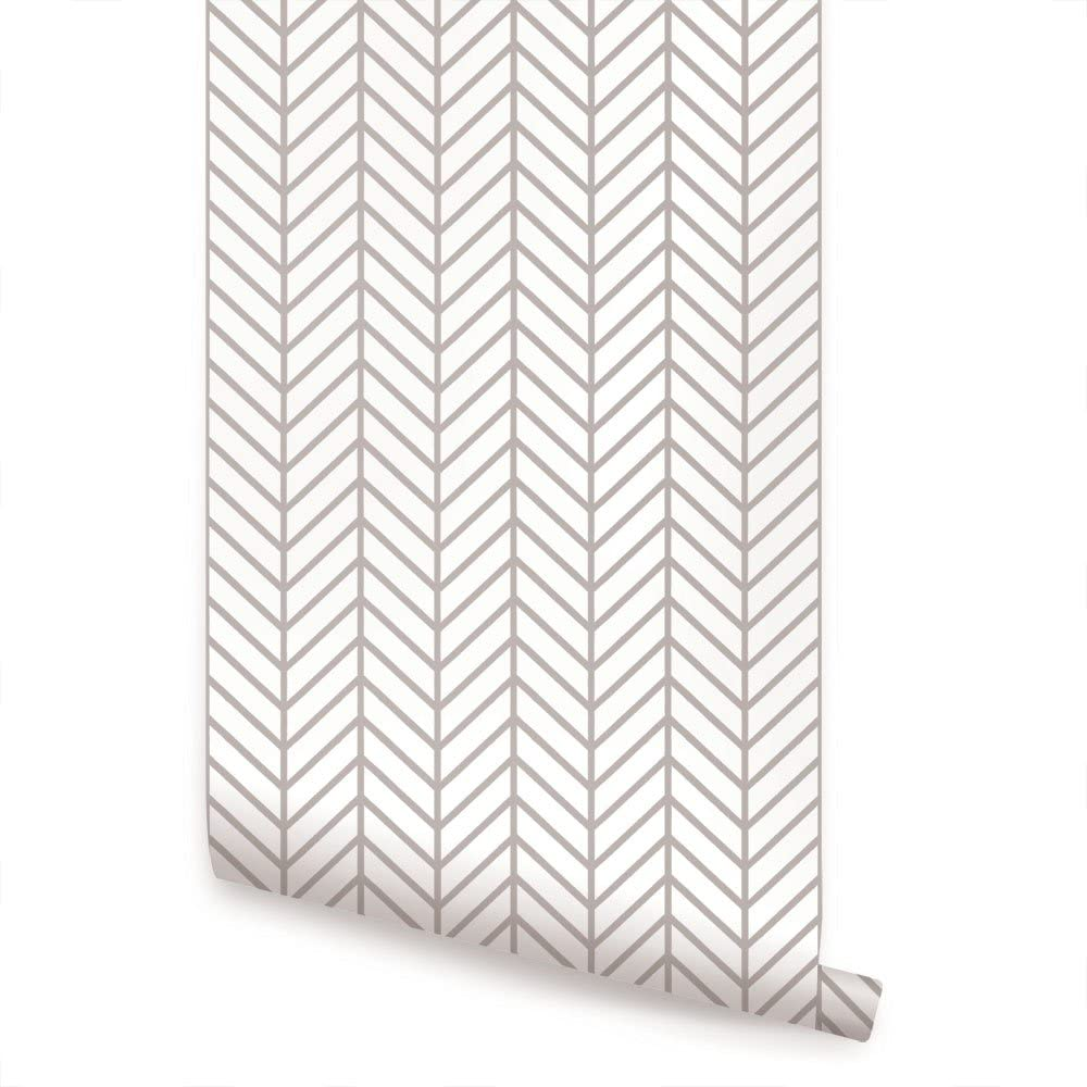 Herringbone Line Wallpaper - Warm Grey - 2 ft x 4 ft - Single - by Simple Shapes