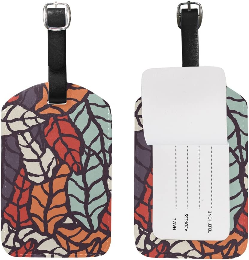 Blue Viper Hand Drawn Style Natural Leaves PU Leather Luggage Tags Personalized