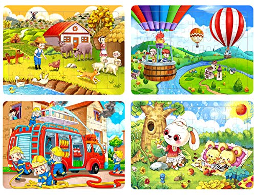 Wood Puzzles for Kids Ages 4-8, 60 Pieces Wooden Puzzles Farm Animals Floor Puzzles Set for Kids, Preschool Educational Learning Toys Gift for Toddlers Children Baby Girls Boys (4 Puzzles) ()