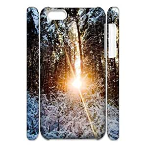 3D Sunlight Through Trees Winter IPhone 5C Case Cheap for Girls, Iphone 5c Cases for Guys [White]
