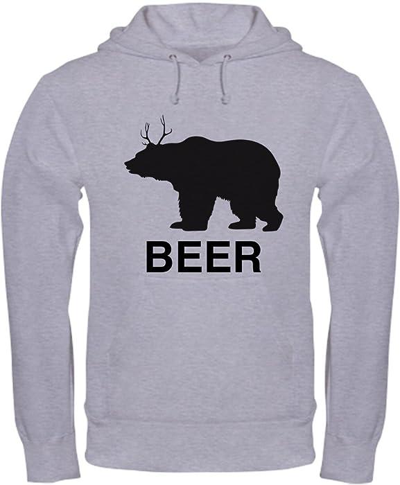 3d5a64dcbef12 Amazon.com: CafePress Beer. Bear with Deer Antlers Hoodie Pullover Hoodie,  Classic & Comfortable Hooded Sweatshirt Heather Grey: Clothing