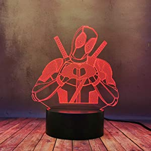 Creative Anti-Hero Deadpool Love Heart Desk Lamp LED 3D Illusion Mood Night Light Marvel Legends Figure Decor Lamp Table Flash Romantic Girl Home Bedroom Lava Bulb for Kid Baby Xmas Festival Gift