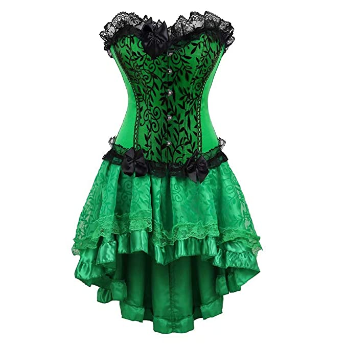 aizen gotico Mujer cordón Vestido corsés y Bustiers Falda Irregular Elegante Disfraces Halloween Sexy Talla Grande
