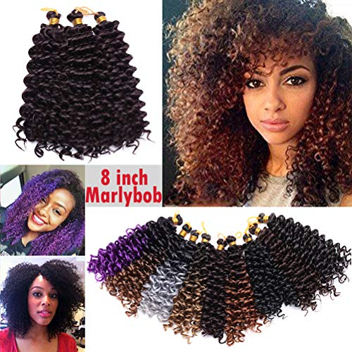 Marlybob Crochet Braids Hair Extension Synthetic Deep Wave Afro Kinky Jerry Curl Jamaican Bouce Braiding Weave for Black Women 8inch 3 lots/pack 90g- Wine Red