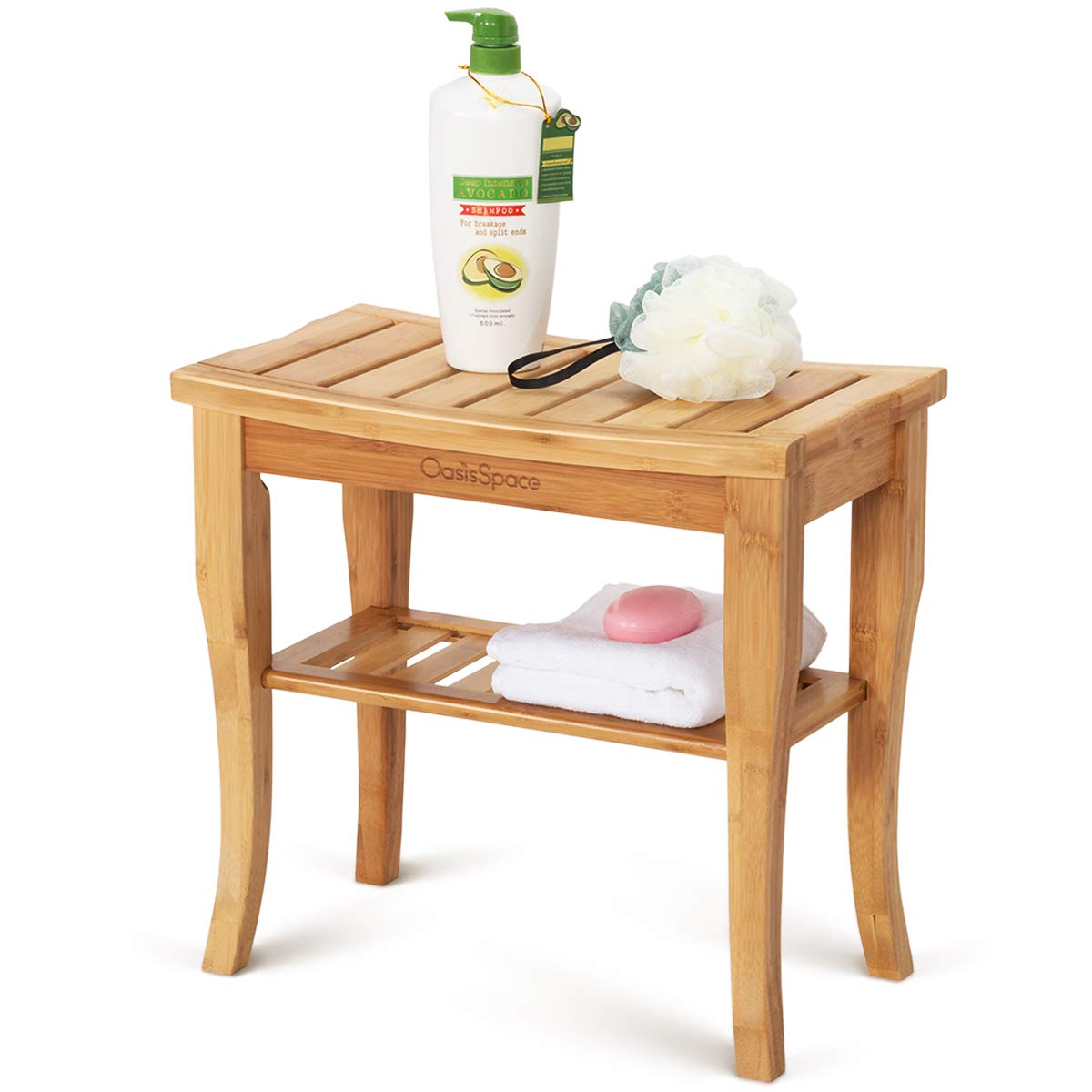 "OasisSpace Bamboo Shower Bench, 19"" Waterproof Shower Chair with Storage Shelf, Wood Spa Bath Organizer Seat Stool, Perfect for Indoor or Outdoor"