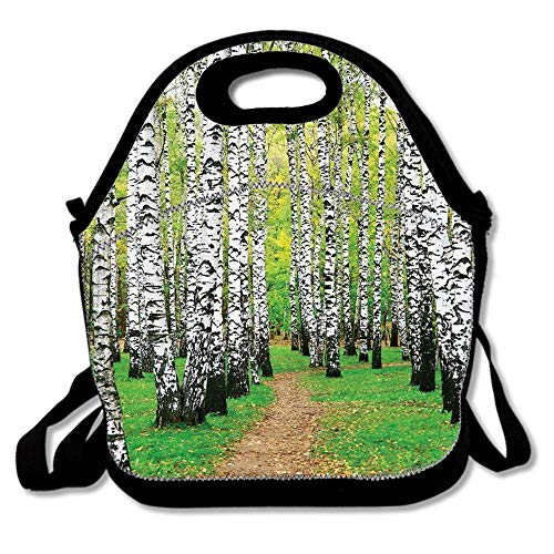 (Pathway in Birch Grove Forest Early Fall Scene Print Reusable Neoprene Lunch Bag Insulated Lunch Box Tote for Women Men Adult Kids Teens Boys Teenage)