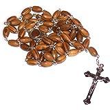 Holy Rosary 带天鹅绒袋、盒子和 The Holy Land 土壤 棕色 10x 6 mm 4271