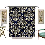 lilly pulitzer home collection luvoluxhome Shower Curtain Collection by Wallpaper Baroque Damask Vector Background g and Blue Ornament Bathroom Accessories W72 x L72