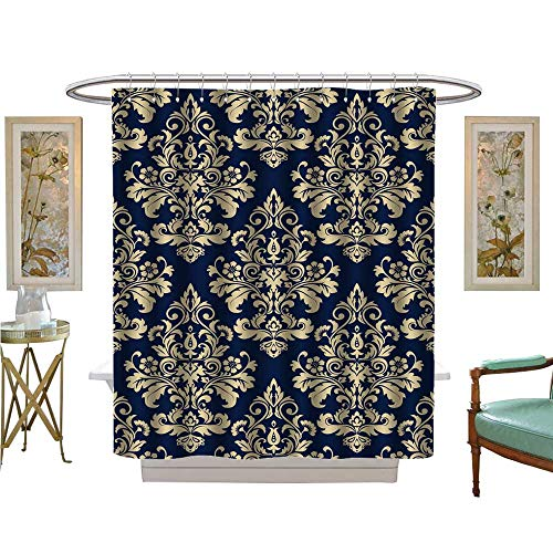 luvoluxhome Shower Curtain Collection by Wallpaper Baroque Damask Vector Background g and Blue Ornament Bathroom Accessories W72 x L72